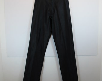 Michi Vintage Black Shiny High Waist Stretch Disco Pants