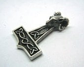 Thor's Hammer Pendant Ancient Ram's Head Mjolnir Viking Amulet Norse Jewelry Pendant