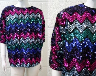 Multi Color Vintage Woman's Sequin Batwing Disco Blouse