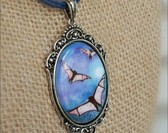 Bat Necklace - Porcelain Cameo Necklace - Bat Jewelry - Halloween Jewelry - Samhain Jewelry - Steampunk Necklace - Blue Porcelain Pendant