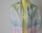New hand dyed Habotai silk scarf 'Pastel sky'