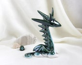 Reserved for Nancy - Magical Emerald Green Dragon -- Hand Made Ceramic Eco-Friendly Home Decor by studio Vishnya