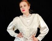 Ivory Victorian Satin Lace Vintage Blouse
