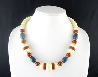 Necklace Beaded Tribal Rustic Colors by Avon