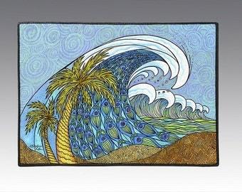 "Palm Trees and Waves 18"" x 24"" Door Mat, Floor Mat, Home Decor"