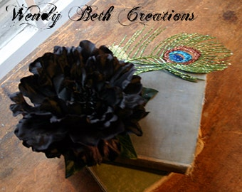 Pitch Hair Clip Fascinator - Black, Peony, Vegan, ATS, Tribal Fusion, Belly Dance, Steampunk