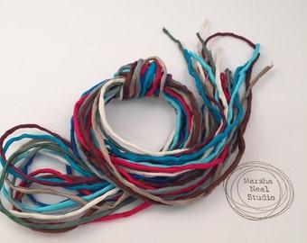 Silk Ribbon Cord Bundle Item No.388 Contains Ten 2mm Silk Ribbons Random Colors