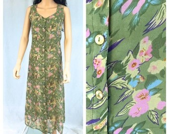 Vintage Green Floral Maxi Dress. Long Dress. Back Tie. Polyester Nylon. Pink. Yellow. 1990s Boho. Spring. Summer. Front Button. Small Medium