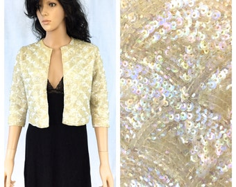 Vintage Off White Short Wool Jacket. Iridescent Sequins. Ivory. Wedding. Small. 1960s. Sweater. Under 30. Fancy. Wedding. Formal.