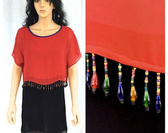 Vintage Bright Red Blouse with Dangling Beads. Rainbow. Crop Top. Short Blouse. Medium. Summer. Blue Red. Dorothy Schoelen Platinum.