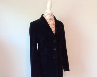 vintage Fendi jacket // long velvet blazer // 1990's logo women's coat 42