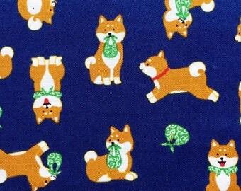 Animal Print Fabric - Shiba Inu Fabric in Blue - Japanese Fabric - Fat Quarter - Cosmo Textiles