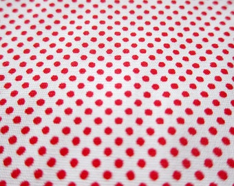 SALE Japanese Cotton Fabric By The Yard - Red on White Tiny Dots Fabric (TD18) - Half Yard