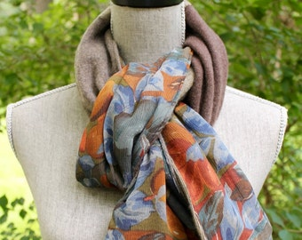 Recycled 100% cashmere and silk scarf.  Vintage silk.  Rust, copper, caramel, blue.