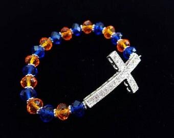 "Cross Bracelet- Orange & Blue Beaded Stretch Bracelet- Florida Gators Bracelet- Sideways Cross Clear Rhinestone Charm- Child / Small Size 7"""