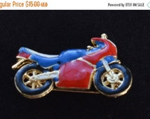 On sale Cute Vintage Red, Blue, White, Black Enamel Motorcycle Pin/Pendant, Gold tone (E10)