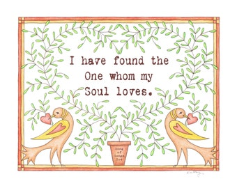 I Have Found the One my Soul Loves Modern Fraktur Song of Solomon Print 8 x 10