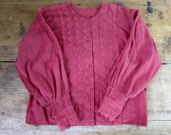 Vintage 80s pink cotton gauze blouse Natural rose button up handmade hippie boho gypsy top Button up gauze shirt womens large xl
