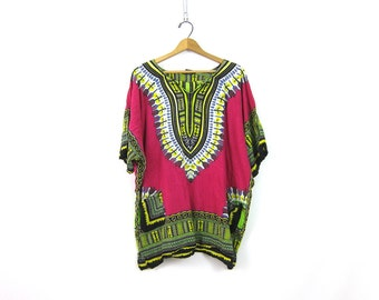 90s Dashiki Tunic Top Ethnic Indian Boho Mini Dress Pink Green Ethnic India Festival Shirt Bohemian Caftan Top with Pockets Medium Large XL
