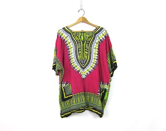 90s Daishiki Tunic Top Ethnic Indian Boho Mini Dress Pink Green Ethnic India Festival Shirt Bohemian Caftan Top with Pockets Medium Large XL