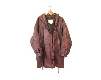 80s Dark Brown Leather Coat Slouchy Long Trench Coat 90s Hooded Oversized Leather PARKA Jacket with HOOD Winter Drawstring Fall Coat Large