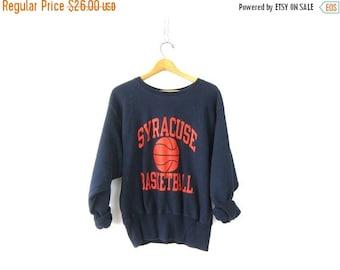 Vintage Syracuse Basketball sweatshirt oversized Navy Blue pullover Cotton sweater Slouchy School Sweater Size Medium