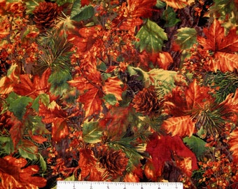 Fall Harvest Fabric - Autumn Leaf & Pine Cone Packed - Timeless Treasures YARD