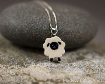 Little Porcelain Sheep Sterling Silver Necklace - Miniature Tiny Ceramic Cute Animal Lamb Nature Handmade Jewelry