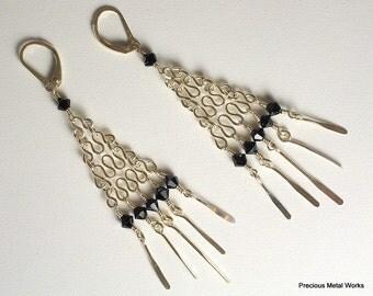 Barcelona-handmade, sterling silver and black Swarovski crystal dangle earrings