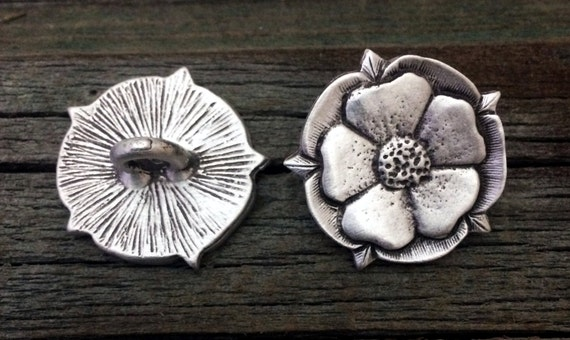 Tudor Rose Metal Button   Rose Button   Flower Button   Tudor Rose Shank Button   7/8 Inch (22 mm)   by Treasure Cast Pewter