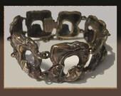 RESERVED for Jane-Bronze Whirlwind-Finnish Brutalist Bronze Modernist Bracelet,Burnished Patina,Vintage Jewelry,Women