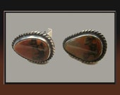 Picture AGATE Cuff LInks,Navajo/Native American Sterling Silver/Red Stone Vintage Jewelry,Men/Unisex