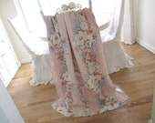 Vintage Barkcloth Panel * Pink Roses * Floral Bouquets * Shabby Cottage * Curtain Drape Fabric