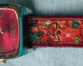 Leather Flower Garden Watch Band with Red Border and Red Face Watch Made in GA USA