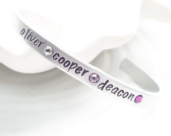 Birthstone Cuff Bracelet - Mother's Bracelet - Gift for Her - Personalized Name and Birthstone Bracelet - Hand Stamped Mother's Bracelet