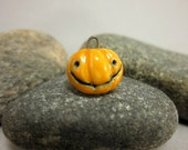 Raku Jack'O Lantern Pendant...1.8cm / 0.7 in....Halloween Jewelry