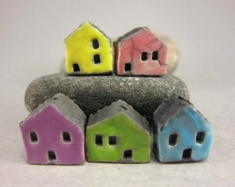 5 Saggar Fired Miniature House Beads...Lemon Pink Purple Green Turquoise