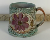 Carved Daisy Mug, Unique XL Handmade, Coffee Cup, Teacup, Tea Cup, Pottery Mug, Gift Idea, Feminine