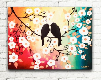Colorful Wall Art, Love Birds Painting Couples Gift, Cherry Blossom Canvas Art, Rainbow Art Home Decor 12x16