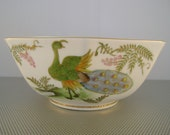Vintage Andrea by Sadek Made in Japan Porcelain Octagonal Peacock Design Bowl~8.5 x 3.5 Inches
