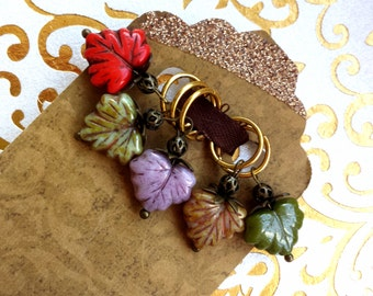 Stitch Markers - Autumn Leaves Knitting Markers - Fall Season Czech Glass Leaf Markers - Seasonal Dangling Marker Knitting Accessories