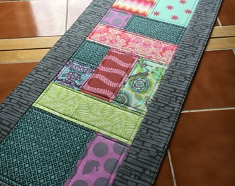 Fox Field by Tula Pink - Long Table Runner - Free Spirit Fabrics 40 inch x 13.5 inch / Reversible Christmas / modern / patchwork