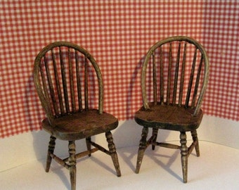 Dollhouse chairs, country chairs, , two chairs, dark oak chairs, ,  twelfth scale,  dollhouse mini