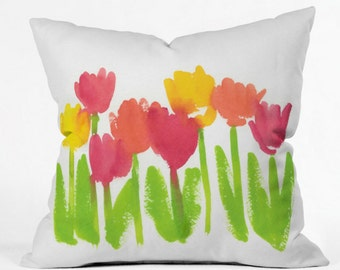 Bright Tulips Indoor Throw Pillow