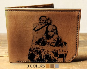 mens leather wallet, star wars wallet, Chewbacca, wallet, leather wallet - 040