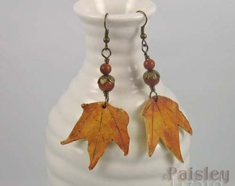 Fall Maple Leaf earrings | polymer clay and gemstone beads on brass wire | botanical jewelry