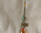 Fall Charm Necklace with Dragonfly, Leaf and Crystals