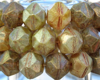 10x9mm Faceted Aged Opal Picasso Vintage Cut Czech Glass Beads - Qty 15 (BS381)