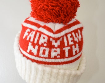 Vintage FAIRVIEW NORTH hat with POM Wisconsin winter hat 1970's