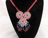 RED - Vintage tribal beaded necklace